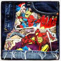 Marvel Comic Book Cutoff Denim Shorts Spider Man Iron Man Thor Distressed Upcycled
