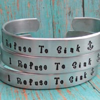 Bracelet SET of 4 Custom Hand Stamped Jewelry Cuff Bracelets Aluminum Toddler Child Teen Womens Personalized Many Font Design Stamps