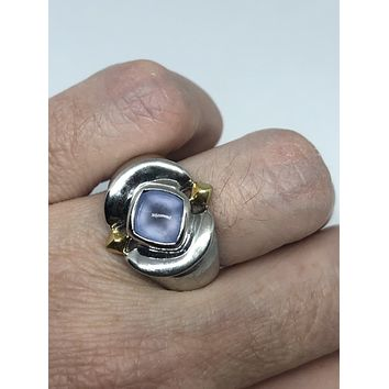 Vintage genuine pale blue calcedony 925 sterling silver rhodium Ring
