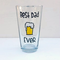 Best Dad Ever hand-painted pint glass