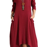 Red Long Sleeve Button Down Plus Size Dress