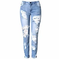 Distressed Faded Jeans Ripped Holes Skinny Jean Pants Boho Denim Festival Leggings Sizes 34 36 38 40 42 Or 44 You Choose