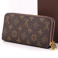 Louis Vuitton LV Women Leather Zipper Wallet Purse-3