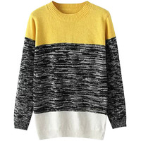 Heather Print Paneled Pullover Knitted Sweater