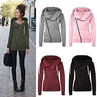 Women Zipper Hooded Slim Fit Sweater Jacket