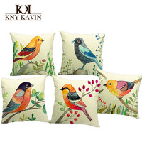 European Style Cushion Cover Home Throw Pillows Birds Flowers Style Signature Cotton Funda Cojin Cushion Covers Cushion HH493