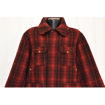 50s Woolrich 503 Red Black Plaid Hunting Coat Large