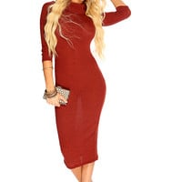 Wine Long Sleeve Sexy Summer Midi Party Dress