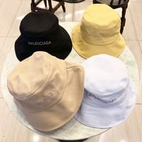 """Balenciaga"" Unisex Sport Fashion Letter Corduroy Logo Embroidery Fisherman Cap Couple Casual Bucket Hat Sun Hat"