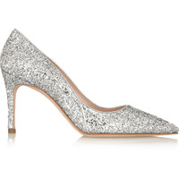 Miu Miu - Glitter-finished leather pumps