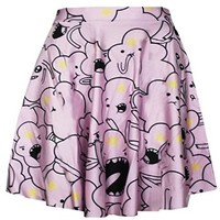 Women's Adventure Time Lumpy Digital Print Stretchy Flared Pleated Casual Skirt