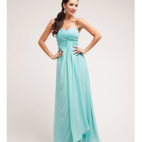 (PRE-ORDER) 2014 Prom Dresses - Aqua Pleated Chiffon Strapless Sweetheart Gown