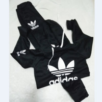 Casual Print Hoodie Top Sweater Pants Trousers Set Two-piece Sportswear Black