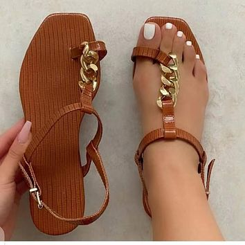 Summer new women's sexy flat solid color fashion slippers sandals shoes