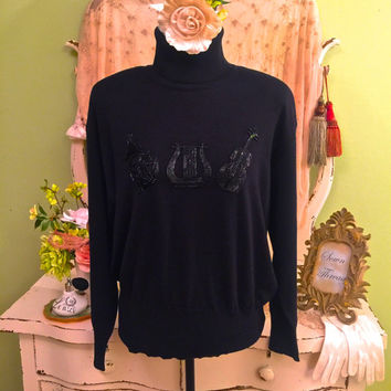 Black Beaded Sweater  ESCADA Sweater  French Horn Harp Violin  Instrument Motif  Soft Light Weight Knit Wool  Turtle Neck  Womens Large 42