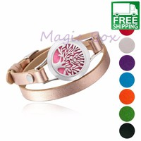 Leather Wrap Bracelet Stainless Steel Essential Oil Diffuser
