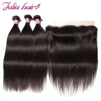 Ali Julia Hair Malaysian Straight Human Hair 3 Bundles With Frontal Closure 13*4 Pre Plucked from ear to ear Lace Frontal Remy