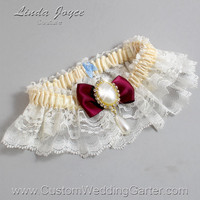 Ivory and Burgundy Wedding Garter Lace Bridal Garter 871 Ivory - 332 Wine Prom Garter Plus Size Queen Size