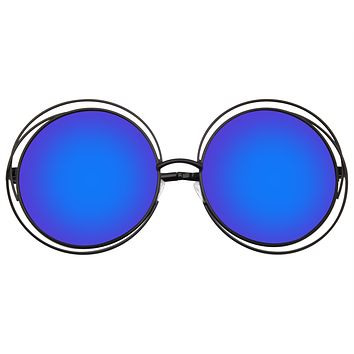 Retro Indie Dual Metal Oversize Round Mirrored Lens Sunglasses