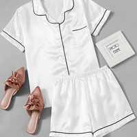 Contrast Piping Satin Pajama Set -SheIn(Sheinside)