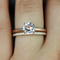 Alberta & Barra 14kt Rose Gold Round Morganite and Diamonds Tulip Solitaire Wedding Set (Other metals and stone options available)