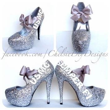 USMC Glitter High Heels, Marine Corps Silver White Sparkly Wedding Pumps