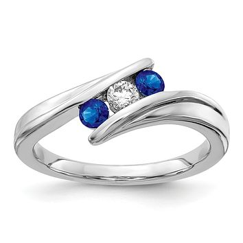 14k White Gold Sapphire and Real Diamond 3-stone Ring