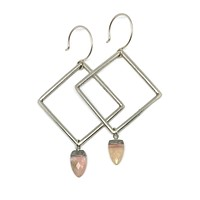 Silver Diamond Pink Opal Drop Earrings