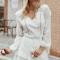 Can't Stop The Feelings Long Lantern Sleeve V Neck Tassel Tie Ruffle Flare A Line Casual Mini Dress - 2 Colors Available