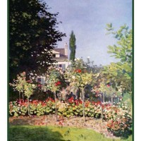 Garden at Sainte-Adresse inspired by Claude Monet's impressionist painting Counted Cross Stitch Pattern