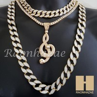 """Hip Hop Iced Out G clef Pendant 16"""" Iced Out Choker 18"""" Tennis 30"""" Cuban Chain20"""