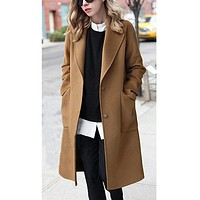 Womens Winter Lapel Button Long Brown Coat Jacket Ladies Overcoat Outwear British style Solid Wool Blend Trench Outwear Overcoat