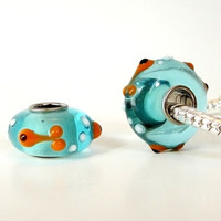 Tiny Goldfish Murano Glass Charm Bead from Funshine Charms