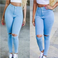 Hot Popular ripped boyfriend holes pants jeans a13582