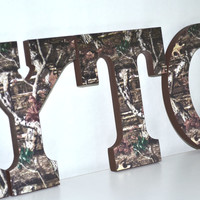 Personalized Wood Letters - Mossy Oak Camouflage Theme