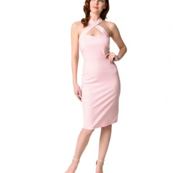 Unique Vintage Women's 1950s Cross Halter Penelope Wiggle Dress - Pink
