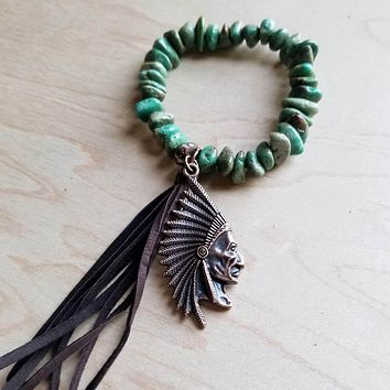 Natural Turquoise Bracelet with Copper Indian and Tassel