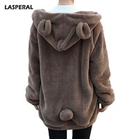 LASPERAL Elegant Faux Fur Women Coat Winter Fashion Sweatshirts Jacket Black Female Plush Overcoat Hooded Women Casual Outerwear
