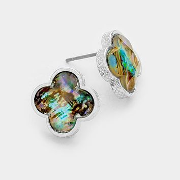 Abalone Quatrefoil Clover Stone Stud Earrings