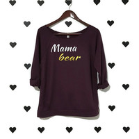 Mama Bear Shirt 3/4 sleeve Mama terry cloth off the shoulder shirt Warm Mommy shirt Mom shirt Purple mama bear sweater Robynhoodink