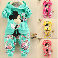 Spring Autumn baby girls christmas outfits Sport suit clothing set children hoodies pants kids minnie mouse clothes sets