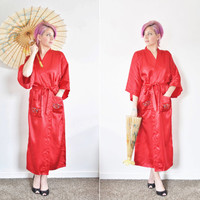 red dragon kimono robe . traditional embroidered satin dressing gown .medium.large