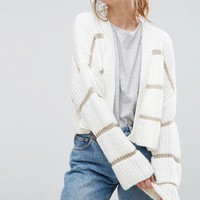 ASOS Chunky Cardigan With Contrast Ladder Stitch at asos.com