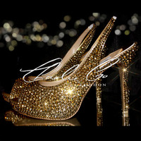 Charlie Co. Platinum Gold Aurum Crystal High Heels Evening Amazing Strass Shoes Bridal Wedding Prom Party