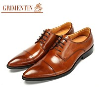 pointed toe shoes for men wedding black lace up classic formal business mens dress shoes genuine leather