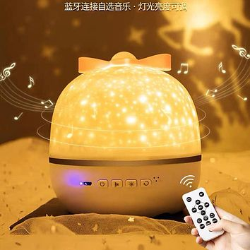 Girl Dream Creative Starry Sky Light Bluetooth Music Projection Lamp Bedroom Bedside Night Light To Send Friends Gifts
