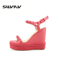 Roman Sandals Summer High Heels Shoes Rivet Peep Toe Platform Wedges Sandals Women Small Size 33 34 Zapatos Mujer Plataforma