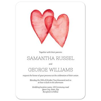 Romantic, red water-color hearts modern elegant wedding invitation