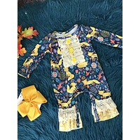 New Fall Infant Ruffle & Lace Baby Fox Romper