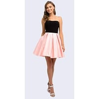Short Two Tone Black/Rose Sweetheart Homecoming Dress